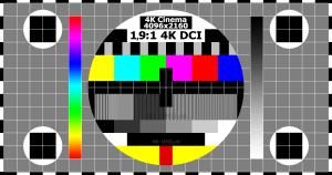 Testbeeld 4K Cinema DCI 4096x2160 pixels verhouding 19,:1 testscreen